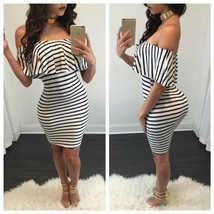 Black White Striped Off-shoulder Bodycon Dress