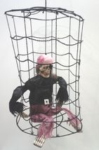Vintage Halloween Hanging Pirate in Cage Party Decoration Yard Prop - $68.70