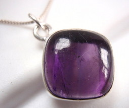 Amethyst Square Necklace with Soft Corners 925 Sterling Silver Cushion New - $23.78