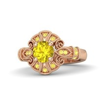 1.70 Ct Round Cut Yellow Sapphire Engagement Chantilly Ring 14k Rose Gold Fn - $96.99