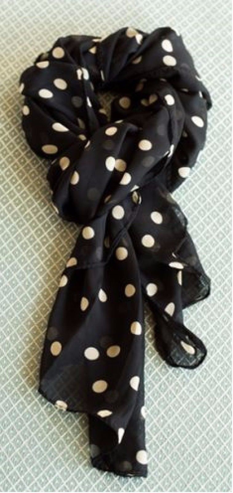 Wear Freedom Black Scarf With Tan Polka Dot Scarves Shawl Stole Wrap