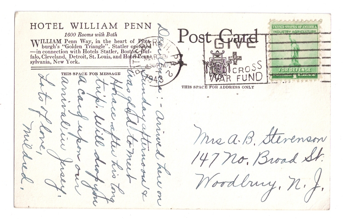 Hotel William Penn Pittsburgh PA 1943 Statler Hotels Advertising Postcard