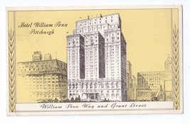 Hotel William Penn Pittsburgh PA 1943 Statler Hotels Advertising Postcard - $4.99