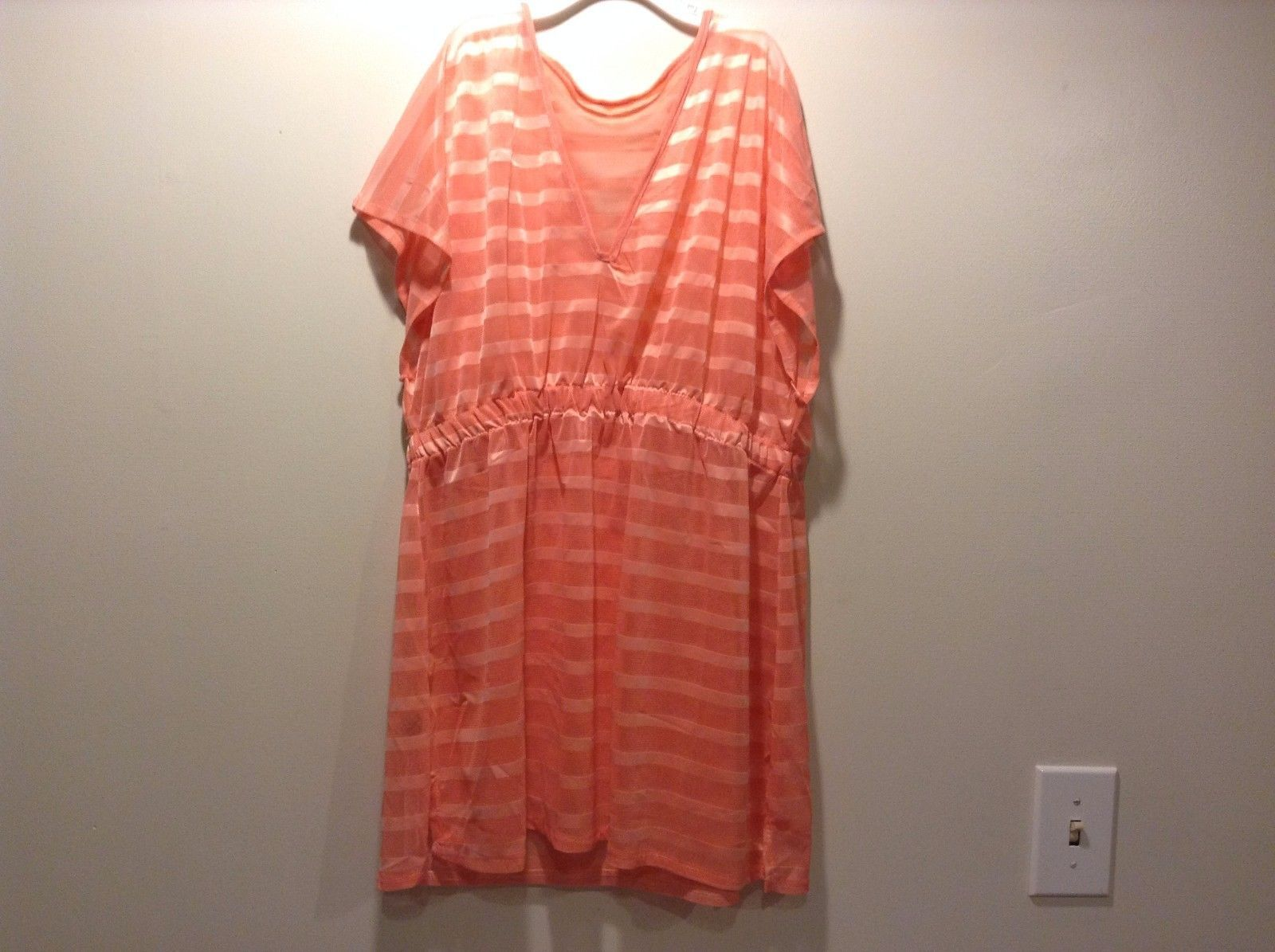 Love of Fashion Pink Horizontal Striped Sheer V-Neck Cinched Waist New Top Shirt