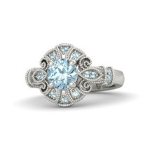 1.70 Ct Round Cut Aquamarine Engagement Chantilly Ring 14k White Gold Finish - $96.99