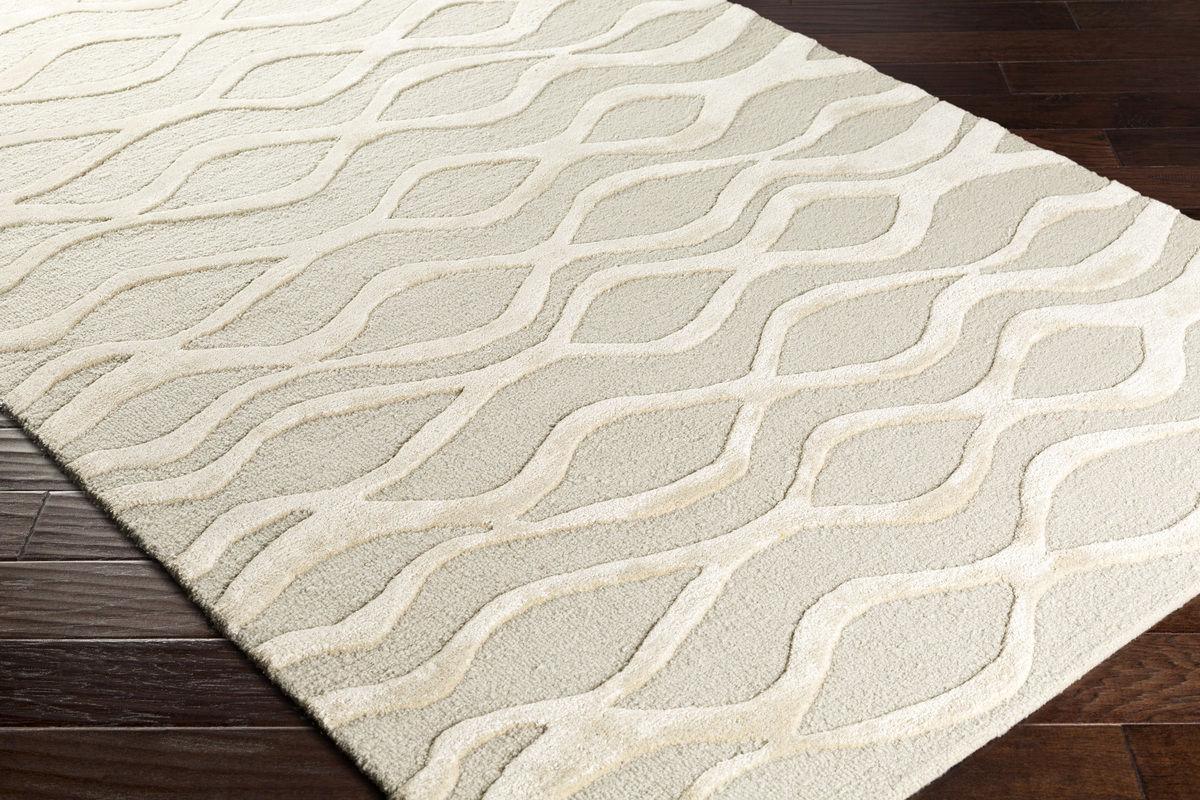 8x10 Contemporary Designer Modern Wool Art Silk Cream Gray Area Rug