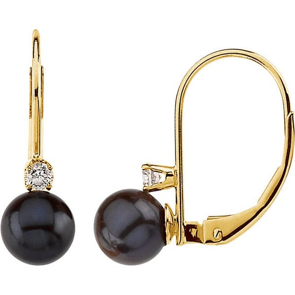 14K Yellow Gold 6mm Cultured Pearl & Diamond Leverback Earrings