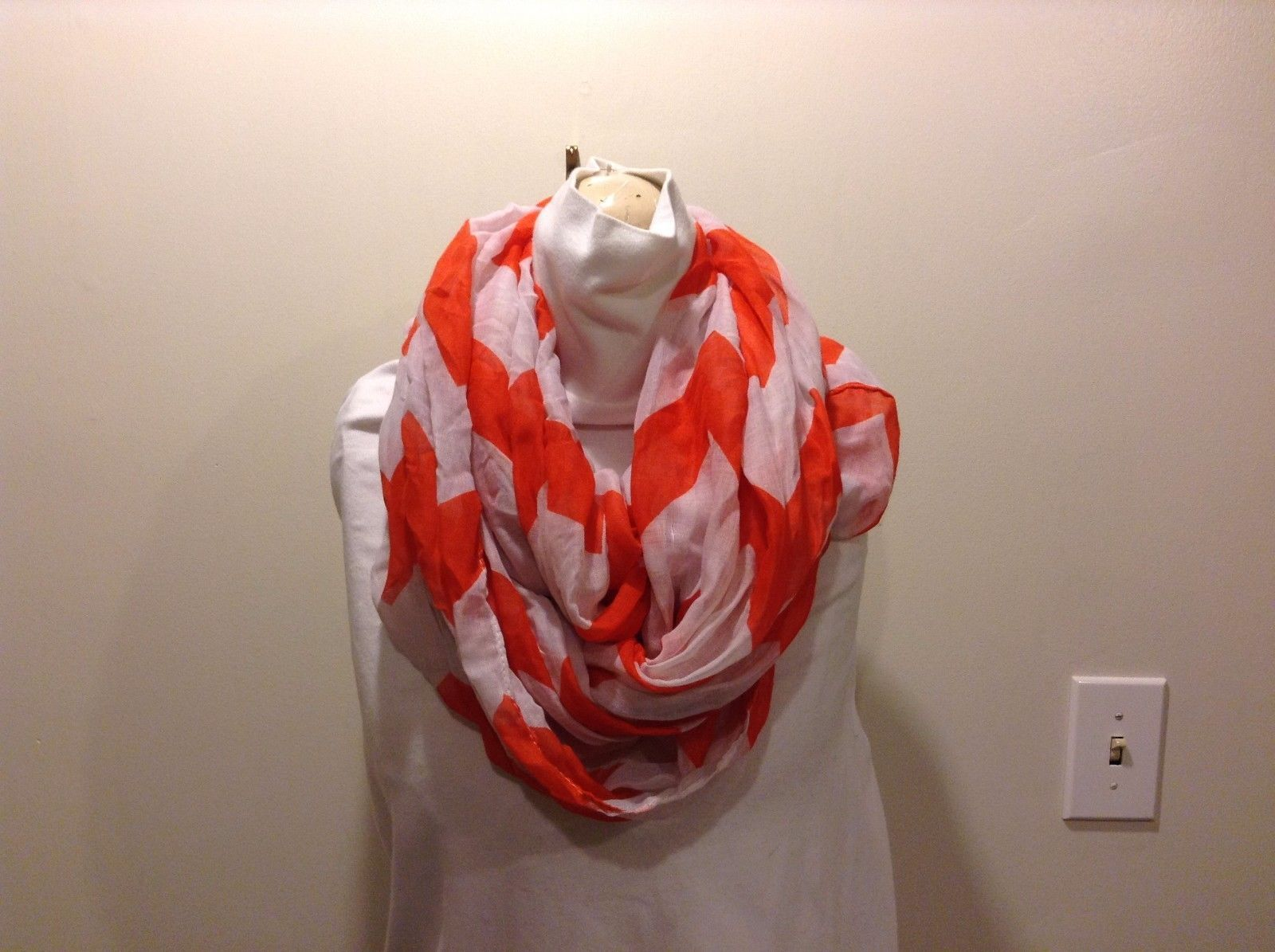 2 New Infinity Scarves Vertical Strip White Orange Vertical Strip Blue Shawl