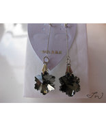 Glass Crystal 18 KT White Gold Plated Earrings - Black - $9.99