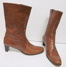COLE HAAN CITY Women's Mid Calf Leather Boots Zipper Tan /Brown Italy S... - $69.95