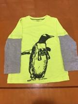 Boys Kids Carter's Carters Neon Yellow Penguin Long Sleeve Shirt Size 5 - $4.94