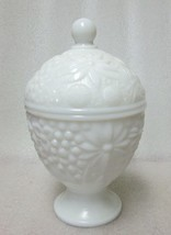 AVON MILK GLASS ROSE FLOWER EMBOSSED OVOID LID CANDY JAR BOX NICE! VINTAGE - $14.84