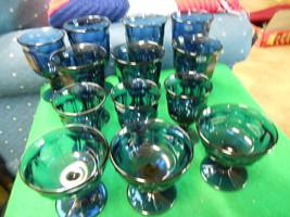Outstanding NORITAKE Provincial Blue Set of 13 GLASSWARE-Goblets,Sherbet etc. - $64.16