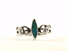 Vintage Scroll Design Marquise Turquoise Ring 925 Sterling RG 1355 - $198,66 MXN