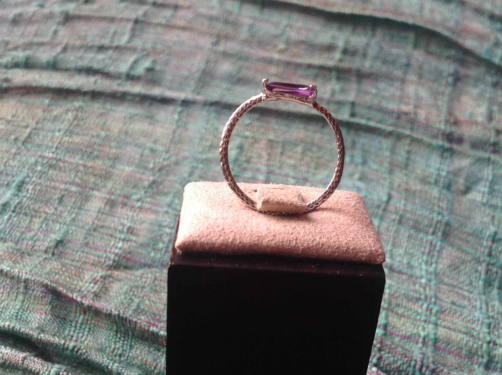 Glittering  Light Catching CZ Synthetic Amethyst Ring Size 7 OR 8 choice