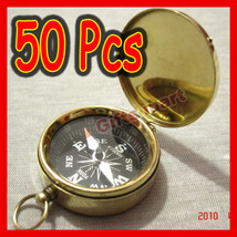 Brass COMPASS with Lid  Wholesale LOT OF 50 pcs - Piratre Nautical Keych... - $199.99