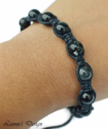 Black Men's or Unisex Knot Bracelet with Gemstone Beads - $29.90