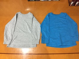 Lot of 2 Boys Kids Fruit of Loom Blue & Gray Solid Long Sleeve Shirts Sz... - $9.89