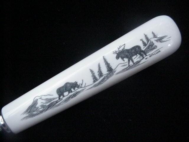 Inuit Eskimo Wilbur Walluk Scrimshaw Ivory Pie Server Alaska