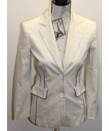 Mango Women Cream Brown Blazer Purple Piping 2 Buttons Sz 4 Cotton Green... - $34.57