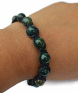 Dark Green Unisex or Men's Knot Bracelet with Gemstones - $29.90