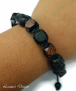 Black and Brown Wooden Bracelet, Unisex or Mens Gift - $27.90
