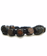 Brown and Black Wooden Bracelet, Unisex or Mens Gift - $27.90