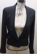 Club Monaco Of Ralph Lauren Group Women Cropped Tuxedo Blazer Silk Sz 2 - $34.57
