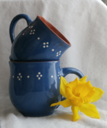 2 Blue Glaze Redware Pottery Coffee Cups or Mug... - $19.99