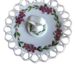 "MILK GLASS  10"" PLATE HANDLE OPEN LATTICE WORK HAND PAINTED VIOLETS - $49.49"