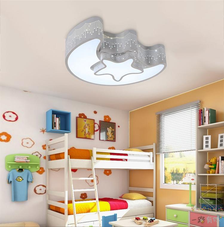 Star Moon Light Fixture Kid's Room Ceiling Lamp LED Baby Bedroom Light Fixture