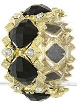 Simulated Onyx and Diamond Jewel Bracelet - Fashion Jewelry - £17.25 GBP