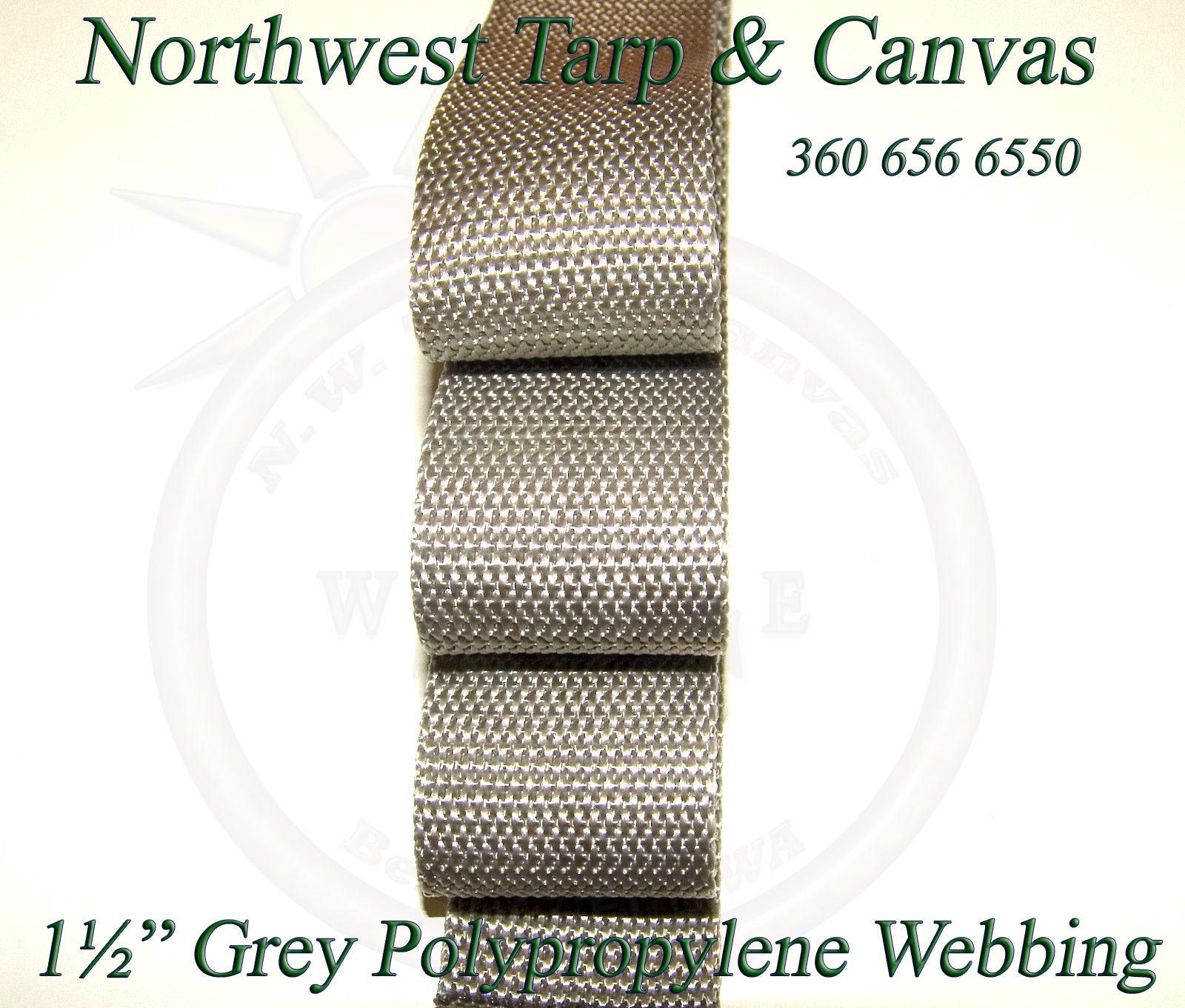"Webbing, 1½"" Inch Wide Grey Polypropylene Sold By-The-Yard 36"" Uncut Lengths"
