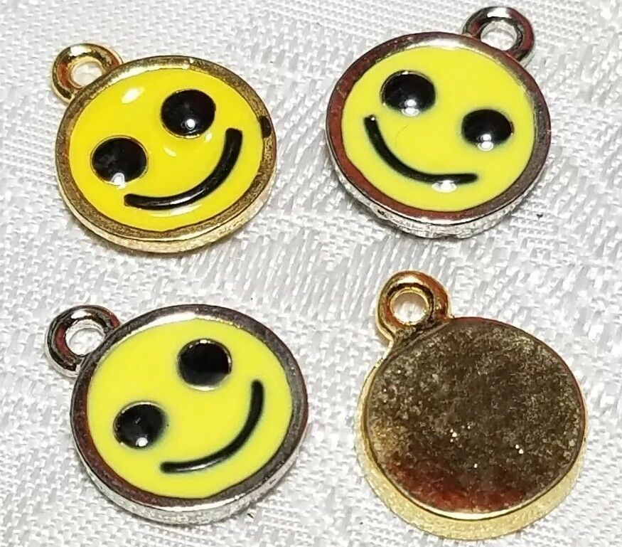 HAPPY SMILEY FACE YELLOW EPOXY FINE PEWTER PENDANT CHARM