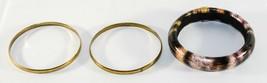 Set of 3 Vintage Faut Leather, Metal Gold Tone Bangle Animal Design  - $8.42