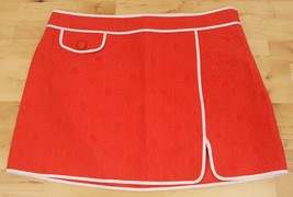 I Love H81 Forever 21 60's Style Mod Floral Tomato Red Mini Skirt Juniors Sz 26 - $10.95
