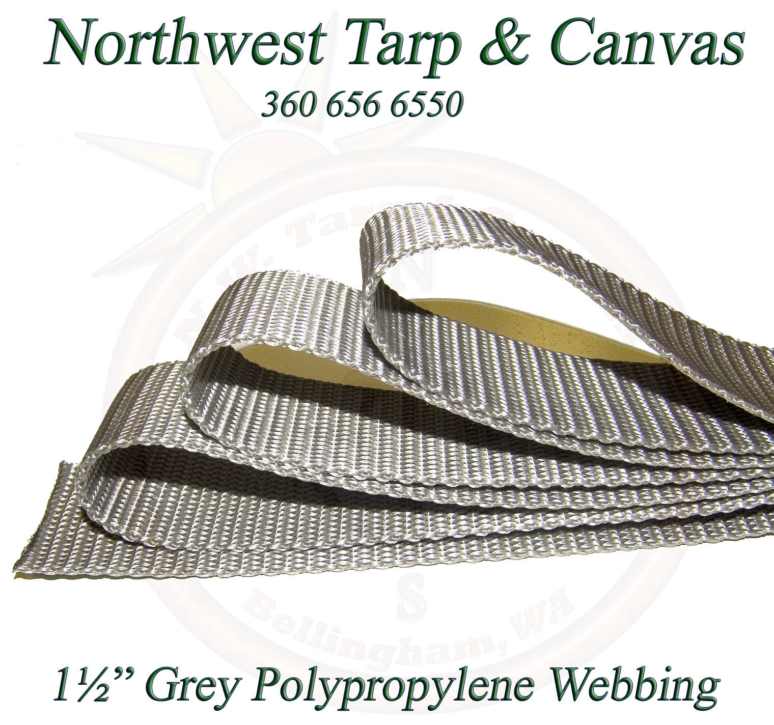 """Webbing, 1½"""" Inch Wide Grey Polypropylene Sold By-The-Yard 36"""" Uncut Lengths image 2"""