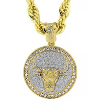 """Mens Gold Tone with Silver Stardus Large Meull Pendant 10mm 30"""" Rope Chain - $28.71"""