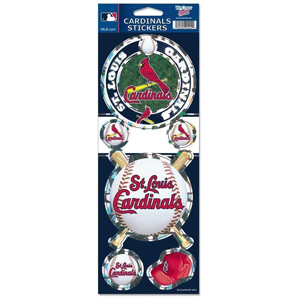 ST LOUIS CARDINALS PRISMATIC HOLOGRAPH STICKER DECAL SHEET OF 5 MLB BASEBALL