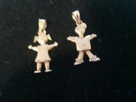 VINTAGE HSN M.ANTHONY MINI  BABY GIRL AND BOY 14 K GOLD PENDANTS. 1.7 GR... - $173.25