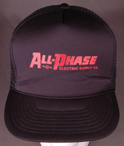 Vtg All-Phase Electric Supply Hat-Black-Rope Bill-Trucker-Fist Lighning ... - $26.17