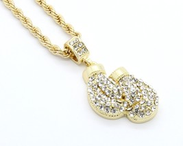 "Mens Gold Plated Iced Out Boxing Gloves Small Pendant 24"" Rope Necklace - $13.85"