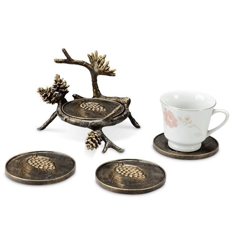 Pinecone & Branch Coaster With Holder Bronze Finish Rustic Cabin Lodge Set/4