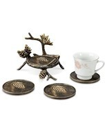 Pinecone & Branch Coaster With Holder Bronze Finish Rustic Cabin Lodge S... - €39,32 EUR