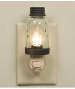 Mason Glass Jar Night Light Rustic Brown or Bar Roof ,5''H. - $17.82