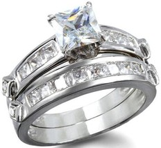 2.78 Ct 2 Pc Princess Cut Wedding Ring Set 14 K White Gold 925 Womens Bridal Sz 6 - $48.61