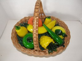 WICKER DECORATIVE BASKET WITH 8 BLOWN GLASS FRUIT & VEGETABLES - $56.09