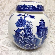 Vintage, Rare, Burgess & Leigh Blue Willow Ginger, Prune or Tea Jar 6in ... - $75.95