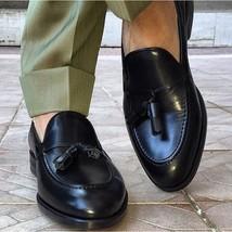 Handmade men black genuine leather tassel mocassins, Men formal shoes, Men shoes - $149.99