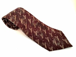 Men's Italian Silk Tie Made in USA Maroon Gray Beige Neck Ties - $9.89